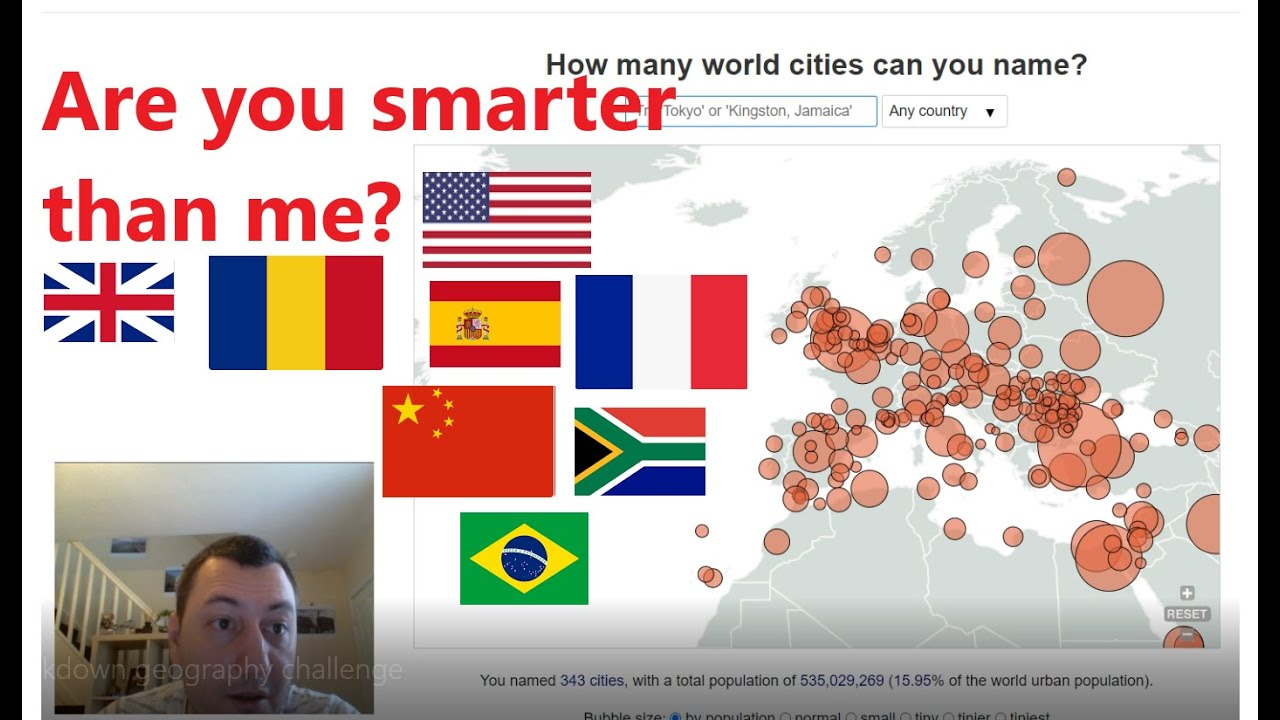 Lock down geography challenge: name as many cities as you can in 60 minutes
